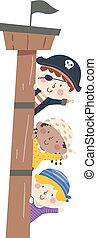 Kids Pirates Border Ship Mast Wave Illustration