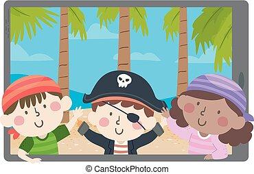 Kids Pirates Show Wave Island Tablet Illustration