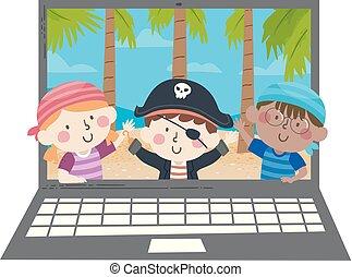 Kids Pirates Wave Island Laptop Illustration