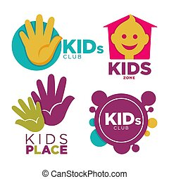 Kids place with entertainments bright promotional emblems set isolated cartoon flat vector illustration on white background