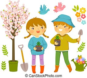 Kids Planting Plants - Kids with gardening tools and...