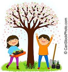 kids planting saplings under a blooming tree