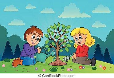 Kids planting tree theme image 3
