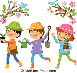kids planting trees - three kids going to plant trees on Tu...