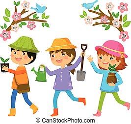 kids planting trees - three kids going to plant trees on Tu...