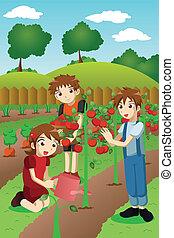 Kids planting vegetables and fruits
