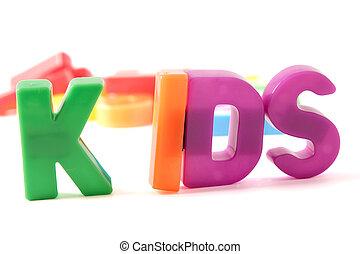 Kids - Plastic letters spelling the word kids
