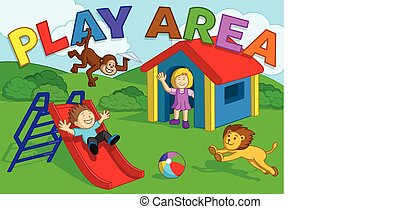 Kids Play Area - Cute Girl & Boy Playing with a Monkey & Lion in the outdoor 'Play Area'.