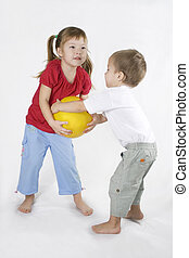 Kids Play Ball. Conflict situation. - littles girl and Boy...