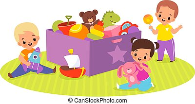 Kids play toys box. Happy children in game around big container with plush bear, ball and dinosaur, cute babies activities. Little boys and girl sitting on floor vector cartoon concept