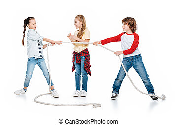 Kids play tug of war