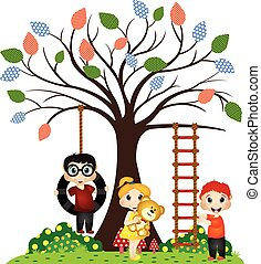 Kids play under the tree