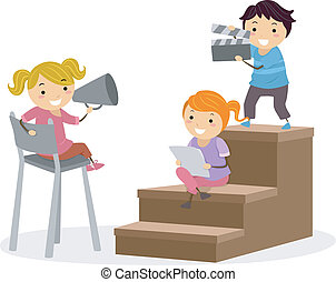Kids Play - Illustration of Kids Holding a Loudspeaker and a...
