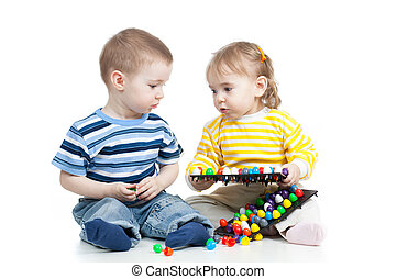 kids play with mosaic toy