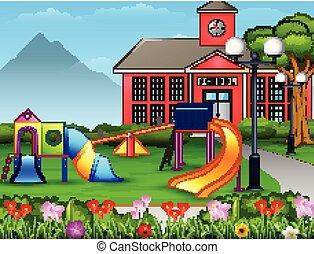 Kids playground area in the school yard