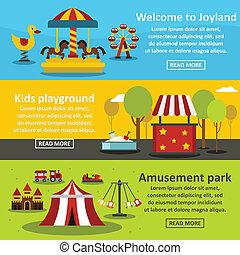 Kids playground banner horizontal set, flat style
