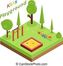 Kids playground isometric flat vector