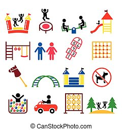 Kids playground, outdoor or indoor place for children to play icons set
