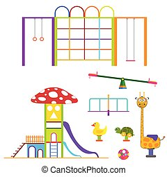 kids playground set color design illustration on white background