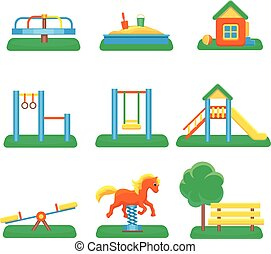 Kids playground set. Icons with kids swings and objects. Slide and kindergarden sandbox vector