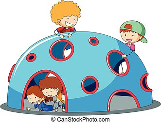 Kids playig at playground dome climber illustration