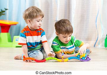 kids, playing, рельс, дорога, игрушка