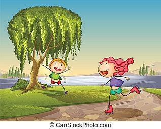 kids playing around tree