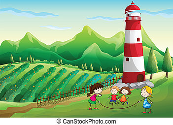Kids playing at the farm with a tower