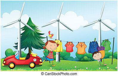Kids playing at the hill with hanging clothes - Illustration...