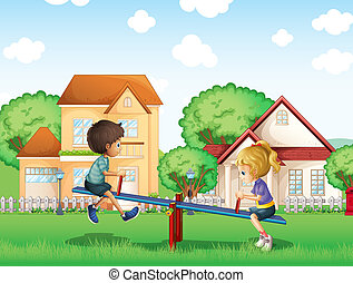 Kids playing at the park in the village - Illustration of...