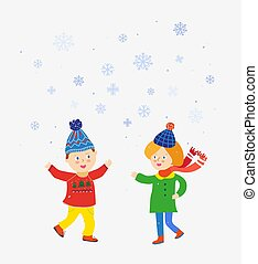 Kids playing at winter under the snow illustration - Kids...