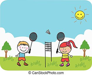 Kids playing badminton