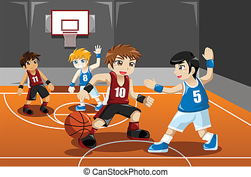 Kids playing basketball - A vector illustration of group of...