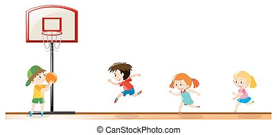 Kids playing basketball at the court