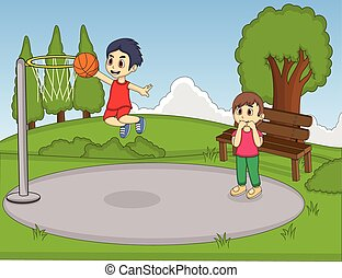 Kids playing basketball in the park