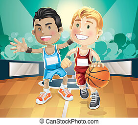 Kids playing basketball on indoor.