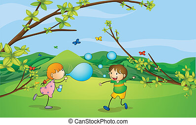 Kids playing blowing bubbles - Illustration of kids playing...