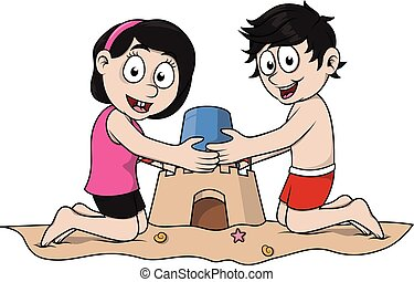 Kids playing castle sand