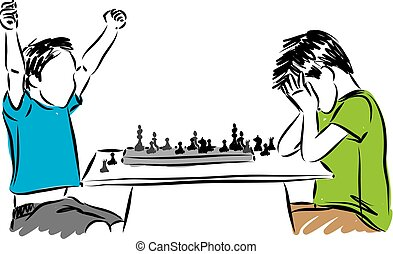 kids playing chess game concept vector illustration