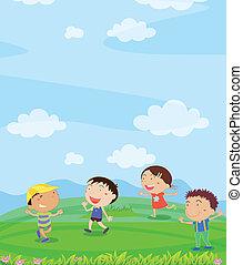 Kids playing - Illustration of kids playing outside