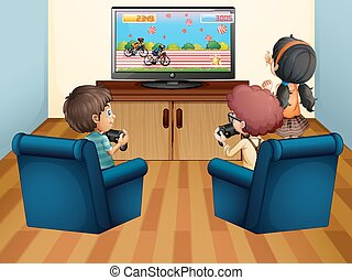 Kids playing computer game at home