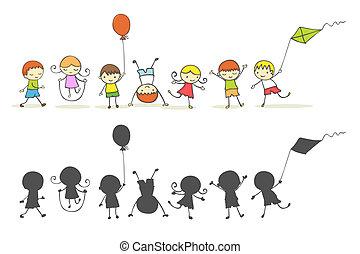 Cute cartoon kids playing.