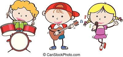 Kids playing different musical instrument