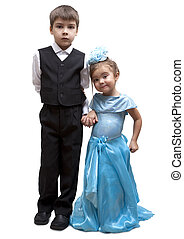 Kids playing dress up, isolated on a white background