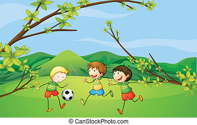 Kids playing football - Illustration of the kids playing...