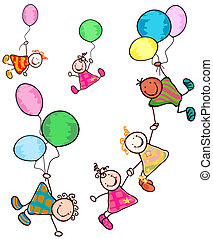 kids playing - happy kids flying with balloons