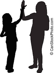 kids playing, high five, silhouette