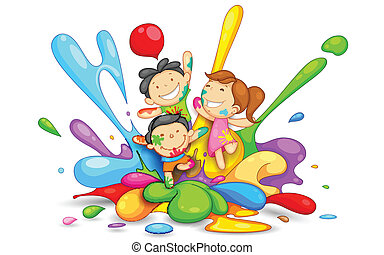 Kids playing Holi - illustration of kids playing Holi with...