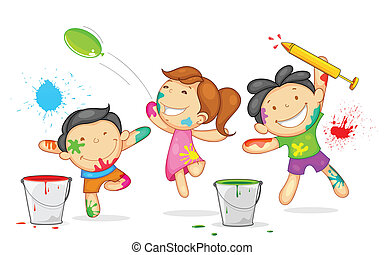 Kids playing Holi - illustration of kids playing holi with ...
