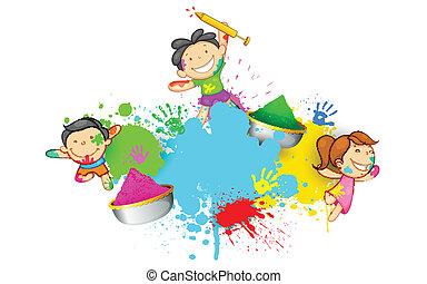 Kids playing Holi - illustration of kids playing Holi with...